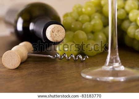 a glass of  wine and grape - stock photo
