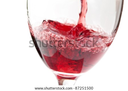 a glass of wine isolated on a white background - stock photo
