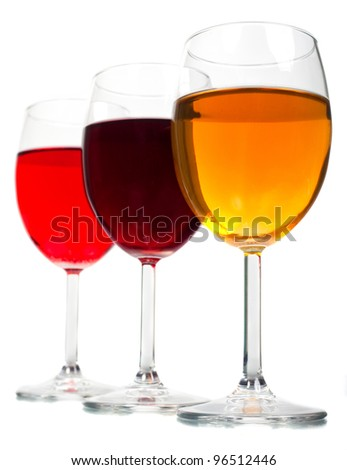A glass of wine on a white background.