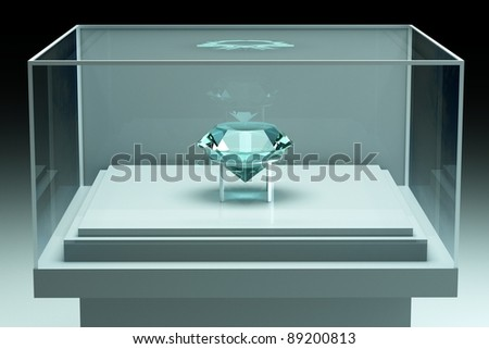 a glass showcase with gem inside - stock photo