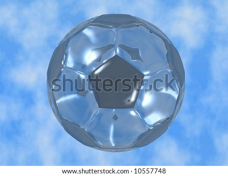 a glass soccer ball over clouds