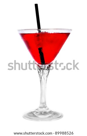 a glass with a red cocktail on a white background