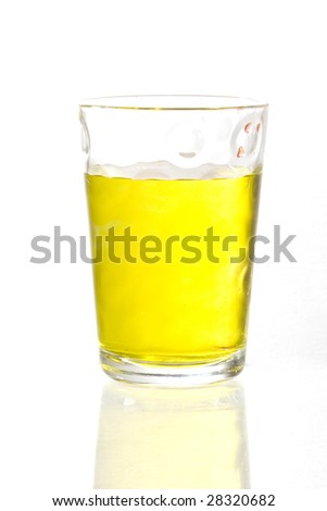 a glass with color liquid inside