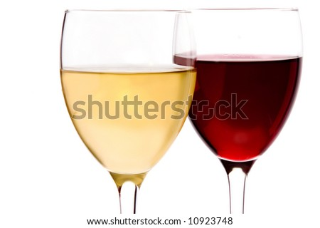 a glass with white wine and a glass with red wine