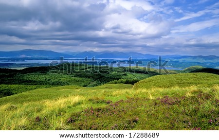 a glen in the scottish highlands - stock photo