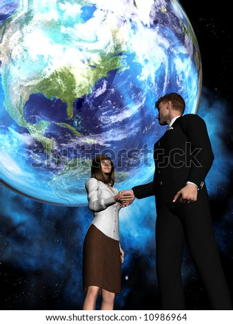 A global deal takes place with a man and a woman shaking hands in front of a globe - stock photo