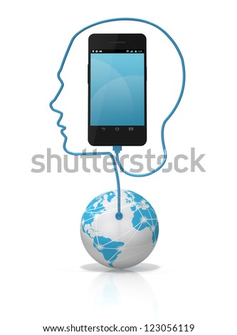 A global network cable forming the silhouette of a head plugged into a smart phone over a white background. Add your own text or icons to the screen. - stock photo