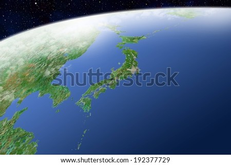 A global view of landmass and bodies of water. - stock photo