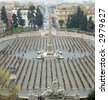 A global view of Piazza del Popolo, Rome, during the Ha Schult's Trash People expo, (March 21-29, 2007) - stock photo