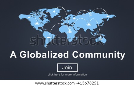 A Globalized Community Social Networking Society Concept - stock photo