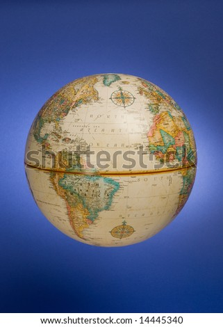 a globe against a blue background