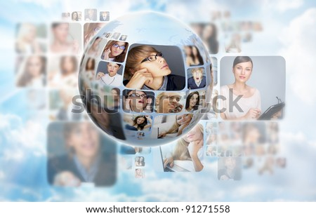 A globe against blue sky and clouds background with many different people's faces. Can represent a technology social network of friends and communication. - stock photo