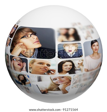 A globe against white background with many different people's faces. Can represent a technology social network of friends and communication. - stock photo