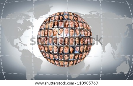 A globe is isolated on a white background with many different business people's faces - stock photo