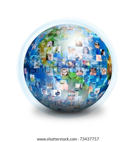 A globe is isolated on a white background with many different people's faces. Can represent a technology social network of friends and communication. - stock photo