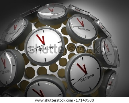 A globe of clocks symbolizing that it's high time for decision making - stock photo