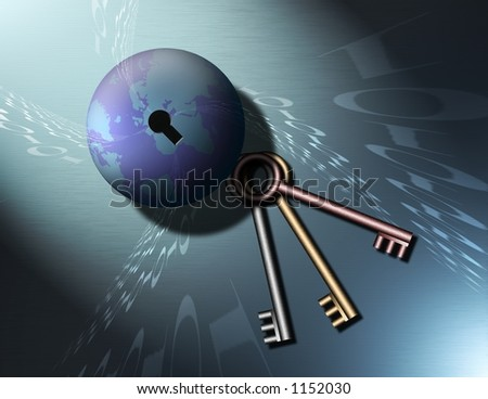 A Globe of the Earth has a key hole, keys lay nearby as binary code swirls into the keyhole - stock photo
