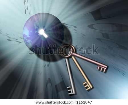 A globe of the earth has a key hole, out of the keyhole shine streams of light, binary code swirls into the keyhole. Three keys sit nearby - stock photo