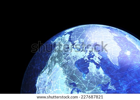 A globe showing global electronic communications and nodes. Elements of this image furnished by NASA. - stock photo