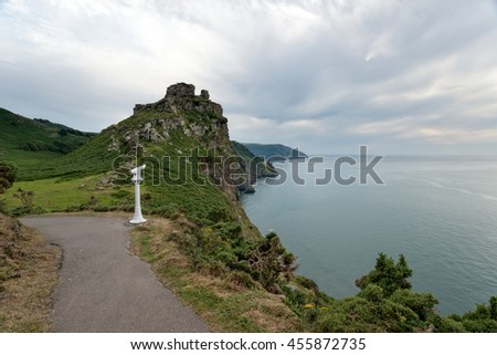 A gloomy day at the Vally Of The Rocks at Lynmouth in Devon - stock photo