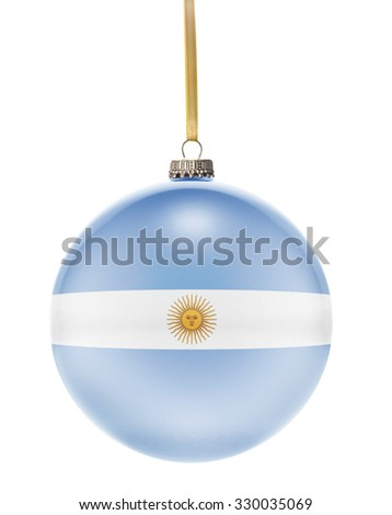 A glossy christmas ball in the national colors of Argentina hanging on a golden string isolated on a white background.(series) - stock photo