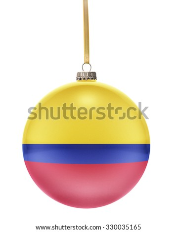 A glossy christmas ball in the national colors of Colombia hanging on a golden string isolated on a white background.(series) - stock photo