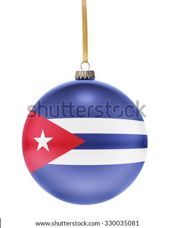 A glossy christmas ball in the national colors of Cuba hanging on a golden string isolated on a white background.(series) - stock photo