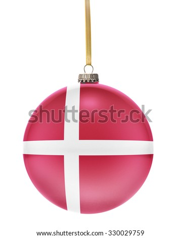 A glossy christmas ball in the national colors of Denmark hanging on a golden string isolated on a white background.(series) - stock photo