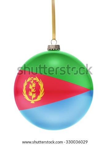 A glossy christmas ball in the national colors of Eritrea hanging on a golden string isolated on a white background.(series) - stock photo