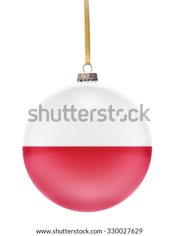 A glossy christmas ball in the national colors of Poland hanging on a golden string isolated on a white background.(series) - stock photo