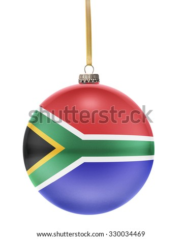 A glossy christmas ball in the national colors of South Africa hanging on a golden string isolated on a white background.(series) - stock photo
