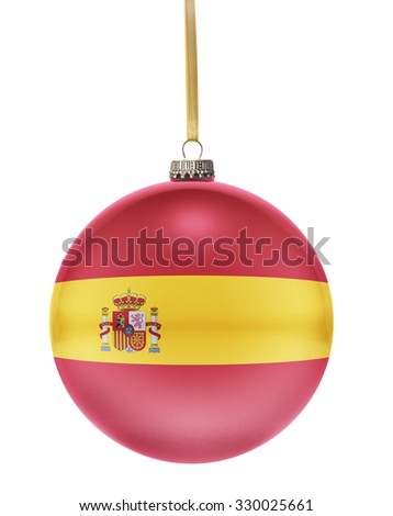 A glossy christmas ball in the national colors of Spain hanging on a golden string isolated on a white background.(series) - stock photo