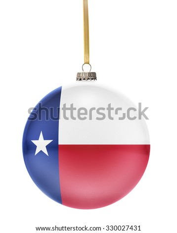 A glossy christmas ball in the national colors of Texas hanging on a golden string isolated on a white background.(series) - stock photo