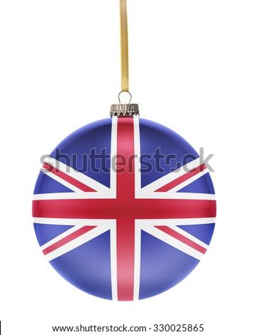 A glossy christmas ball in the national colors of United Kingdom hanging on a golden string isolated on a white background.(series) - stock photo