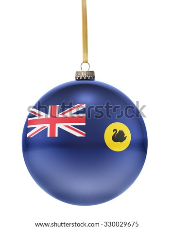 A glossy christmas ball in the national colors of Western Australia hanging on a golden string isolated on a white background.(series) - stock photo