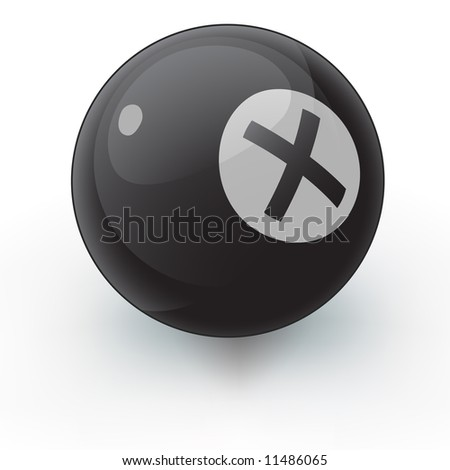 A glossy pool ball with an X on it instead of an eight. An interesting illustration that coudl suite many random variable purposes.