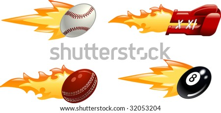 A glossy shiny flaming sport icon set. Baseball ball, boxing glove, cricket ball and black pool eight ball flying fast through the air with flames and fire shooting out the back - stock photo