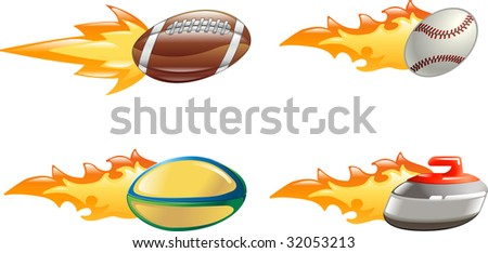 A glossy shiny sport icon set with flames and fire. American football ball, baseball ball, rugby ball and curling stone flying fast through the air with flames and fire jetting out the back - stock photo