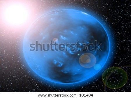 A glowing blue planet that is suffering from the sun's incredible heat!