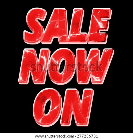 A glowing, reflective Sale Now On sign in red isolated on a black background - stock photo