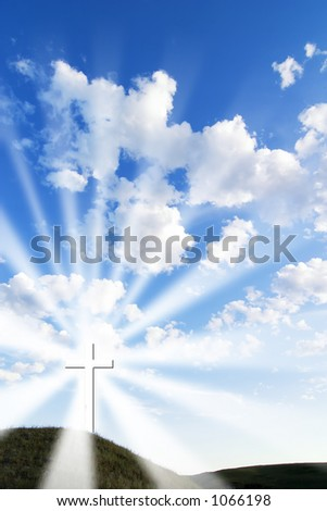 A glowing white cross on a hill. - stock photo