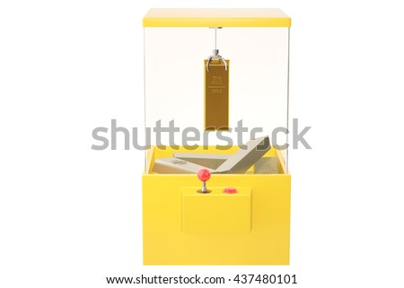 A Gold and silver in the toy crane machine. 3D illustration. - stock photo
