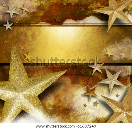 A gold and yellow sparkle star background with a text area for an announcement or celebration message. Use it for a holiday or Christmas card. - stock photo
