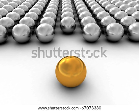 A gold ball in many white balls - stock photo