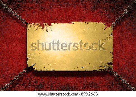 A gold banner held with chains on a grungy velvet background - room for copy on the banner - stock photo