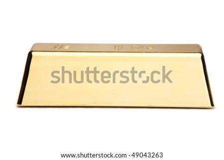 A gold bar isolated on white background - stock photo