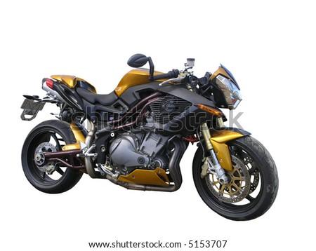 A Gold Benelli Motorbike - stock photo