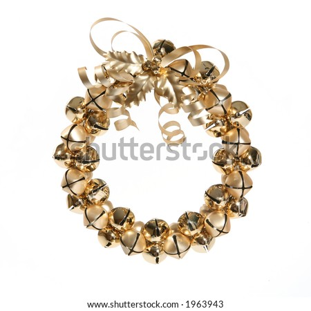 A gold christmas wreath made of bells - stock photo