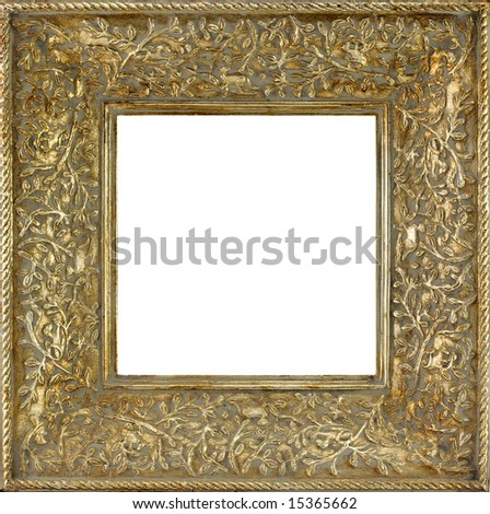 A gold colored fine antique picture or photo frame. - stock photo