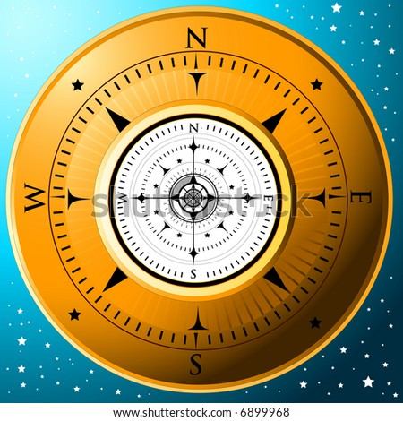 A gold compass on a blue starred background
